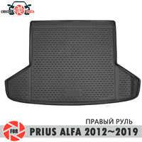 Stamm matte für Toyota Prius Alfa 2012 ~ 2019 stamm boden teppiche non slip polyurethan schmutz schutz innen trunk auto styling