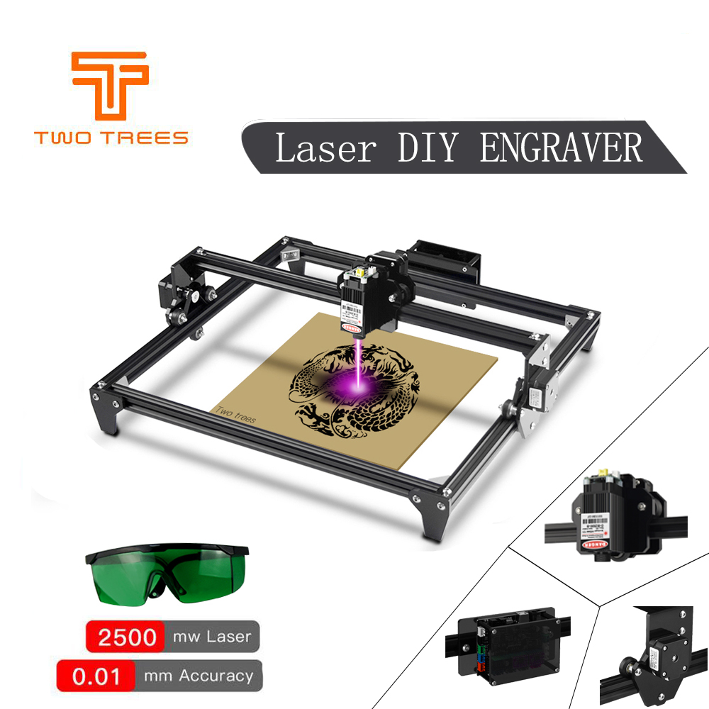 Mini Laser Engraving Machine 2Axis black silver color 30*40cm 2500MW DIY Engraver Desktop Wood Router/Printer + Laser Goggles3D Printers   -
