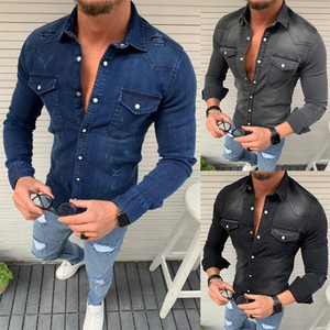 Image 4 - New Mens Denim Fashion Shirts Casual Jeans Jackets Long Sleeve  Pocket Slim Fit Button Autumn Soild Color Turn Down Collar Tops