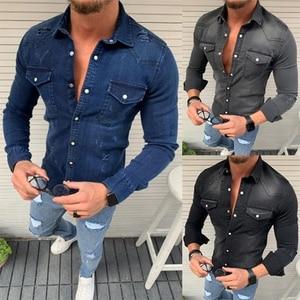 Image 4 - Nuovi Uomini di Modo Denim Camicette Casual Jeans Giubbotti Manica Lunga Pocket Slim Fit Button Autunno Soild di Colore Turn Imbottiture collare Magliette e camicette