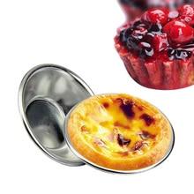 Molde de aluminio para cupcakes, para galletas y pasteles, forrado, herramienta de latón para hornear, molde redondo para tarta, utensilios de cocina para horno, 6 uds.