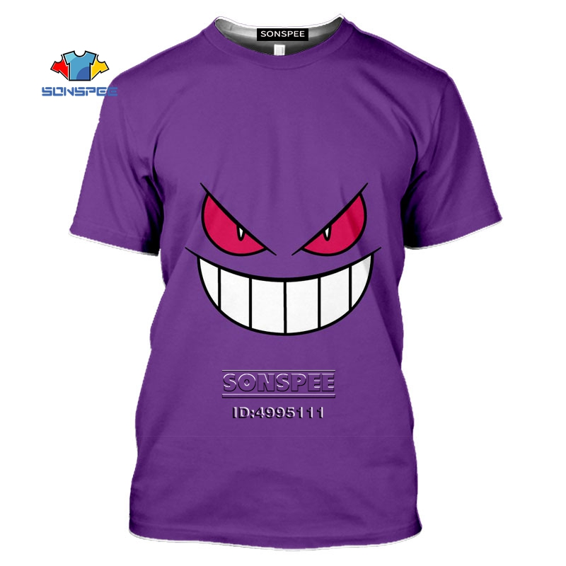 Gengar Men's T-shirt 3D Print Anime Aesthetic Gothic Pokemon Tshirt Women Casual Summer Harajuku Shirt Hip Hop Oversized Tee Top 1