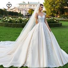 Superbe Appliques robe de mariée 2020 swanjupe dentelle casquette manches robe de bal chapelle Train princesse robe de mariée Vestido de Noiva F107