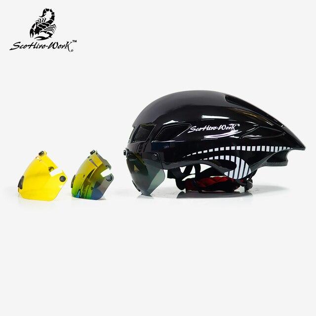 Capacete de bicicleta dos homens casco ciclismo estrada mtb mountain bike triathlon tt ciclismo capacete lente óculos equipa da bicicleta 5