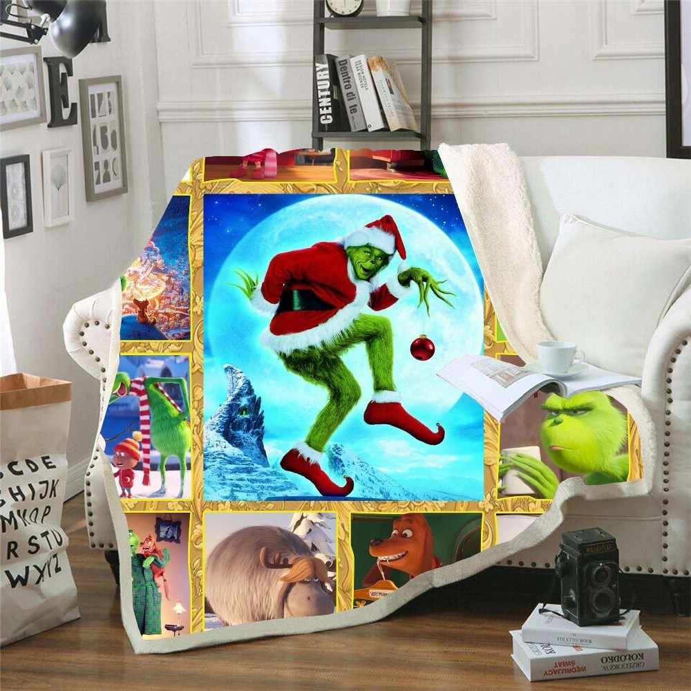 How the Grinch Stole Christmas Printed Plush Throw Blanket Sherpa Bedspread Home Blankets For Beds Camping Soft Square Blanket