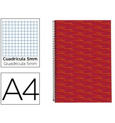 SPIRAL NOTEBOOK LEADERPAPER A4 MICRO MULTILIDER LINED TOP 140H 70G BOX 5MM 5 BANDS 4 HOLES RED