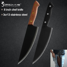 Kitchen Knife Slicing Chef Fish-Cooking-Tool Meat Steel Black Sowoll Slaughter Brown