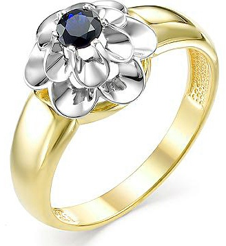 Master Brilliant Flower Ring With 1 Sapphire In Yellow Gold
