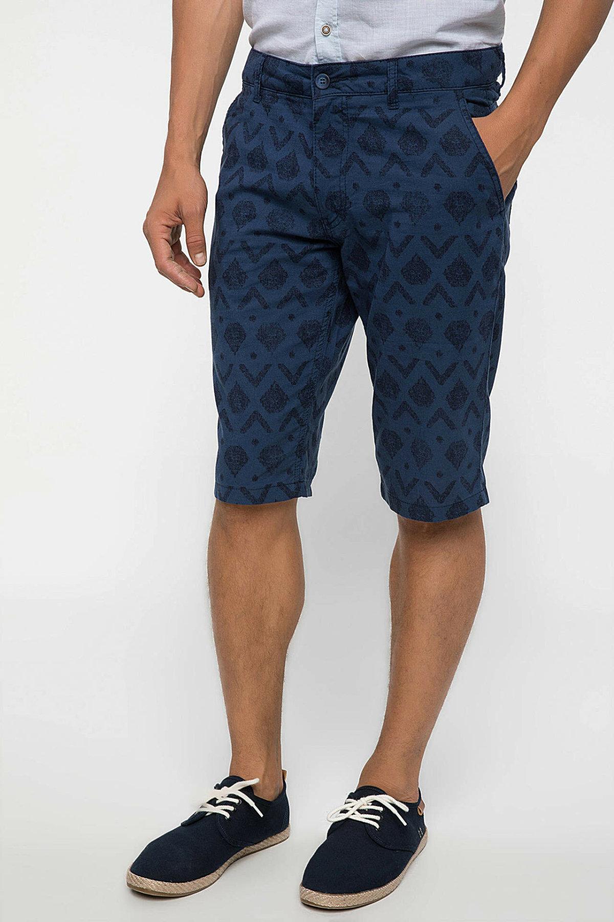DeFacto Man Summer Casual Shorts Men Fashion Prints Short Male Navy Blue Bermuda Mid-waist Shorts-I8225AZ18SM