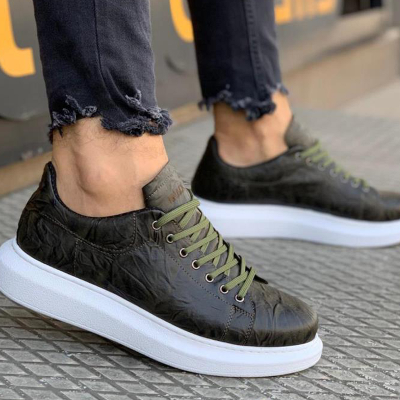 Knack 044 Lace-up Thick Sole White Black Casual Men's Shoes For Men Sneaker