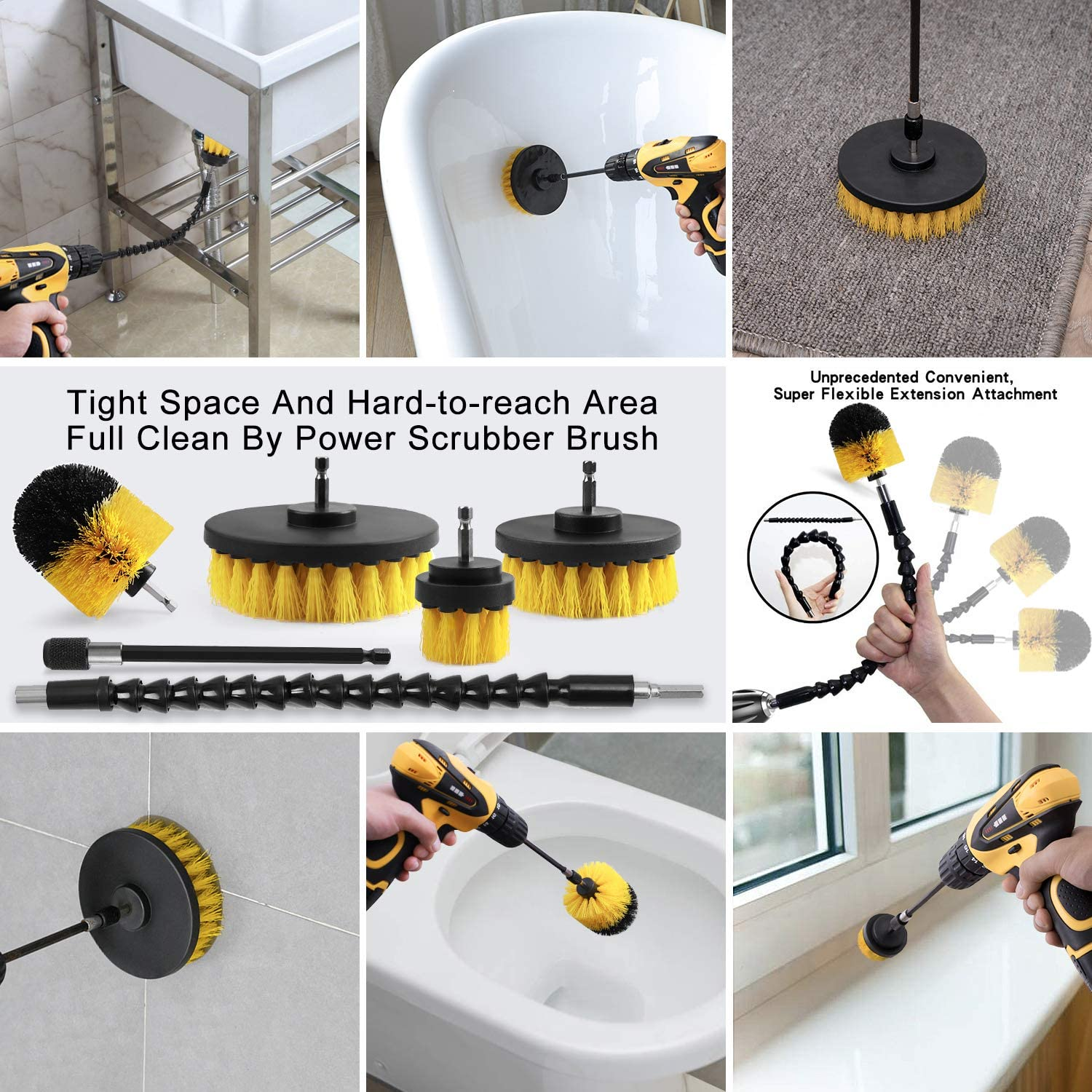 10Pcs Drill Brush Power Cleaning Scrubber nylons Brush Attachment Kit with Extender for Bathroom Tub, Shower, Tile and Car 5