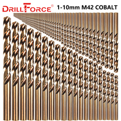 Drillforce 91 шт 1-10 мм M42 8% набор сверл кобальт, HSS-CO набор сверл, для бурения на закаленной стали, чугуне и нержавеющей стали