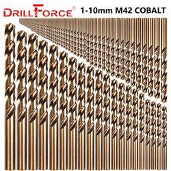Drillforce 91 pièces 1-10MM M42 8% jeu de forets Cobalt, jeu de forets HSS-CO, pour le perçage sur acier trempé, fonte et acier inoxydable