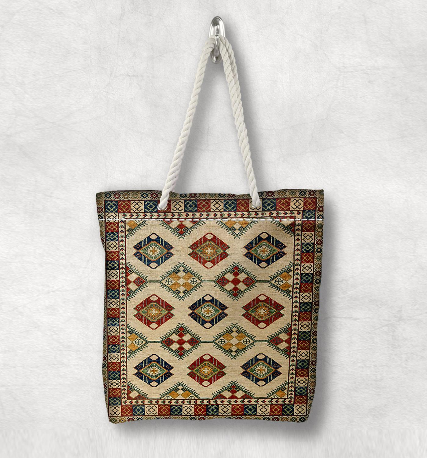 Else Beige Authentic Anatolia Antique Kilim Design White Rope Handle Canvas Bag Cotton Canvas Zippered Tote Bag Shoulder Bag