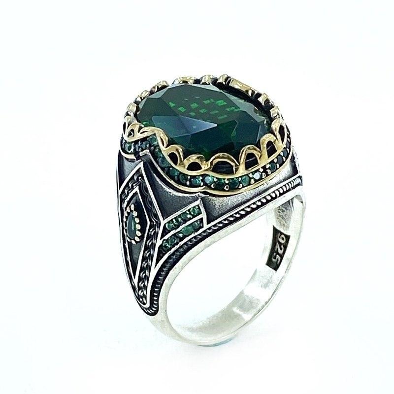Emerald Green Zircon Stone Hand Production Design Sterling Silver Men 'S Ring