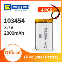 EEMB 103454 3.7V Lipo Battery 2000mAh Lithium Polymer Rechargeable Cell Li-Lion Battery for Power Bank, GPS, MP3, MP4