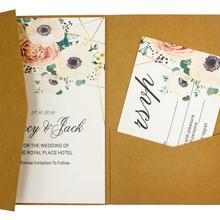 10pcs/lot pocketfold Wedding invitation Cards three folded card and pearl paper pocket Greeting invitations cover for party