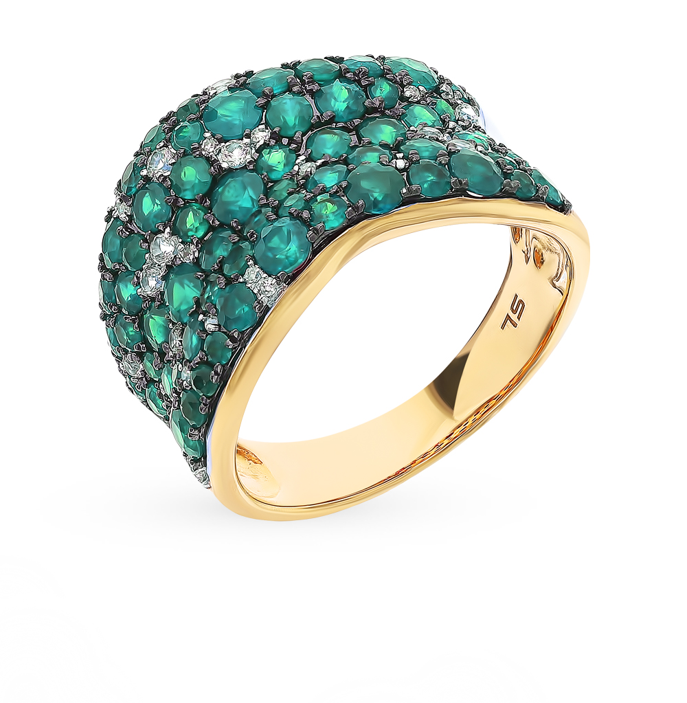 Gold Ring With Sapphires, Emeralds And Diamonds Sunlight Sample 585