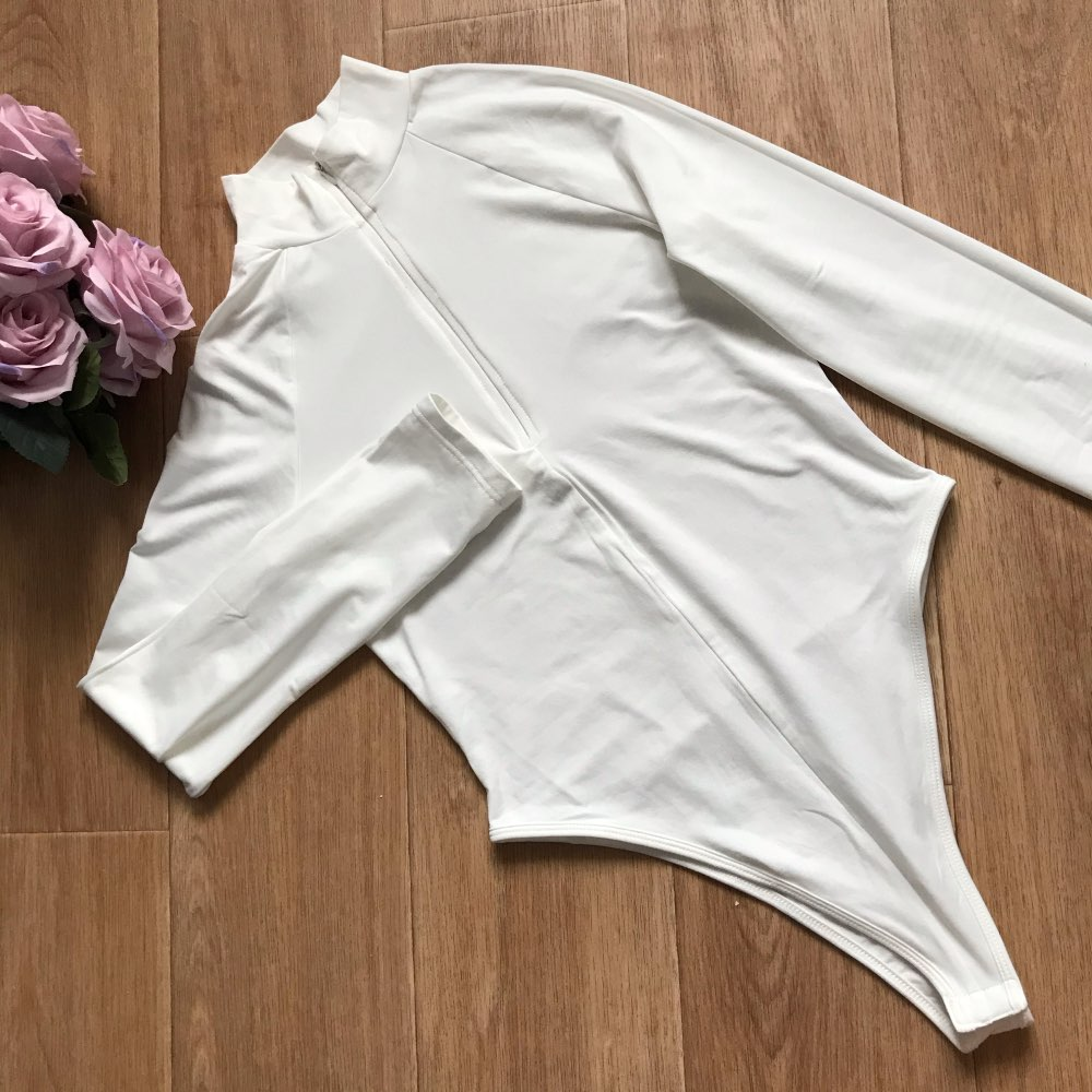 Evenworse Sexy Zipper Bodycon Jumpsuit 2020 Spring Fashion Long Sleeve Round Collar Slim Black Bodysuit Nightclub Club Christmas reviews №6 57211