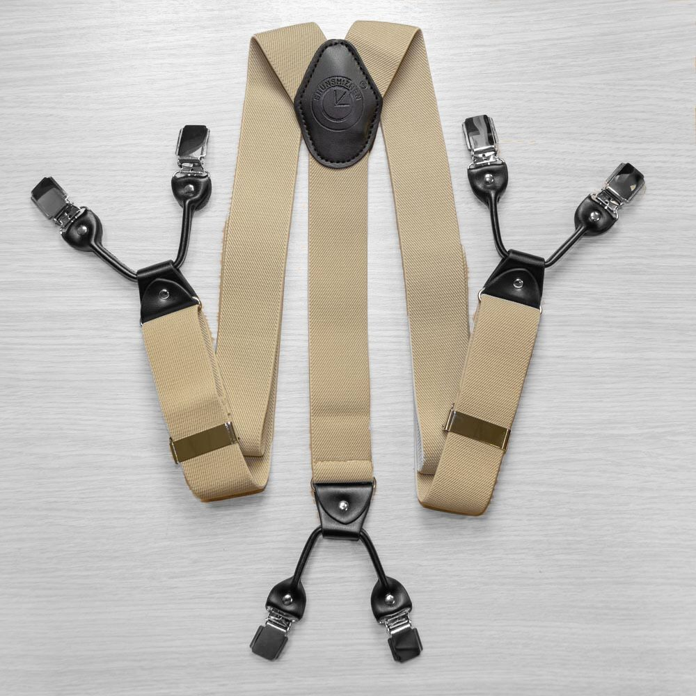 Suspenders For Trousers Wide (4 Cm, 6 Clips, Beige) 53960