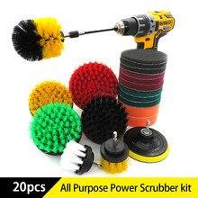 20 Pçs/set Broca Kit de Limpeza escova de Escova de lavagem de energia As Superfícies Do Banheiro Banheira, Duche, Azulejo, Banheiro Kit de Fixação Da Broca