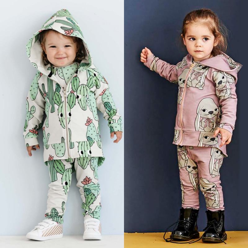 TinyPeople Rex rabbit Baby Boys Clothes Autumn Suits fashionable Baby Girl Hooded Sports clothing Sets kid winter infant 2 piece