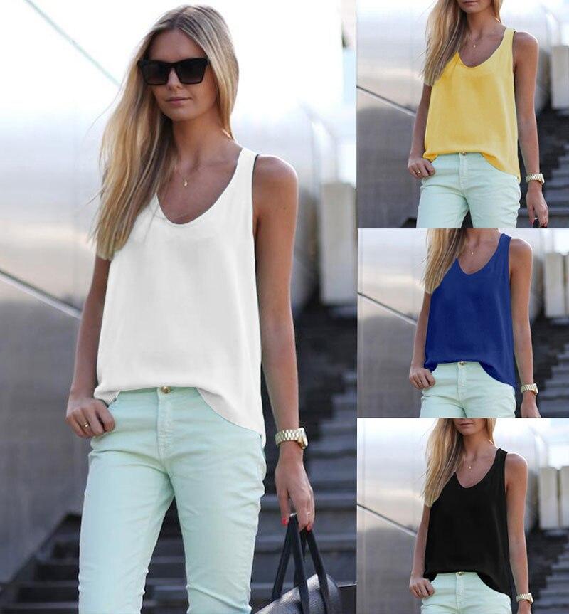 Women Summer Casual   T  -  shirt   Tops Sleeveless Chiffon Loose Vest Top Tee   Shirt