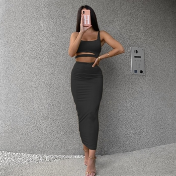 Women Sexy Two Piece Set Wrap Crop Top Bodycon Long Skirt Sets Outfits Solid Color Hollow Out One Shoulder Cami Short Party Set women summer fashion 2020 2pcs set crop top sexy hollow out skirts two piece outfits sexy sets ladies wear s10