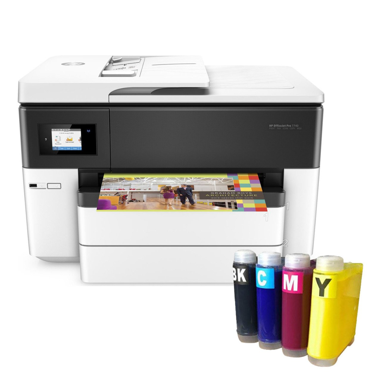 US $46.46 46% OFFFOR HP Officejet Pro 7746 Copier + Fax + Scanner + Wi Fi  + Airprint + A46 Printer G46J468A and ending Cartridge SystemInk Cartridges