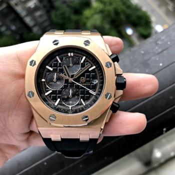 цена на Excellent Men Watch Fashion Sport Japan Movement Clock Mens Watches Top Brand Luxury Steel Business Waterproof AP Royal Watch