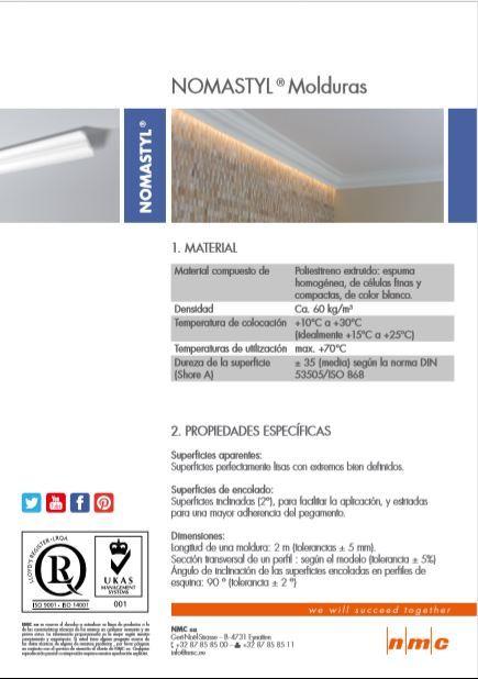 Cornisa//Moldura decorativa techo blanca NMC NOMASTYL/® GO 80X80X2000mm Poliestireno 2 metros