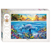 Puzzle step dolphins 2000 pieces items art collection mosaic game toy for children educational занимательная logic