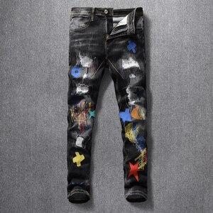 Image 4 - American Streetwear Fashion Men Jeans Elastic Slim Fit Ripped Denim Pencil Pants Homme Patches Designer Stretch Hip Hop Trousers
