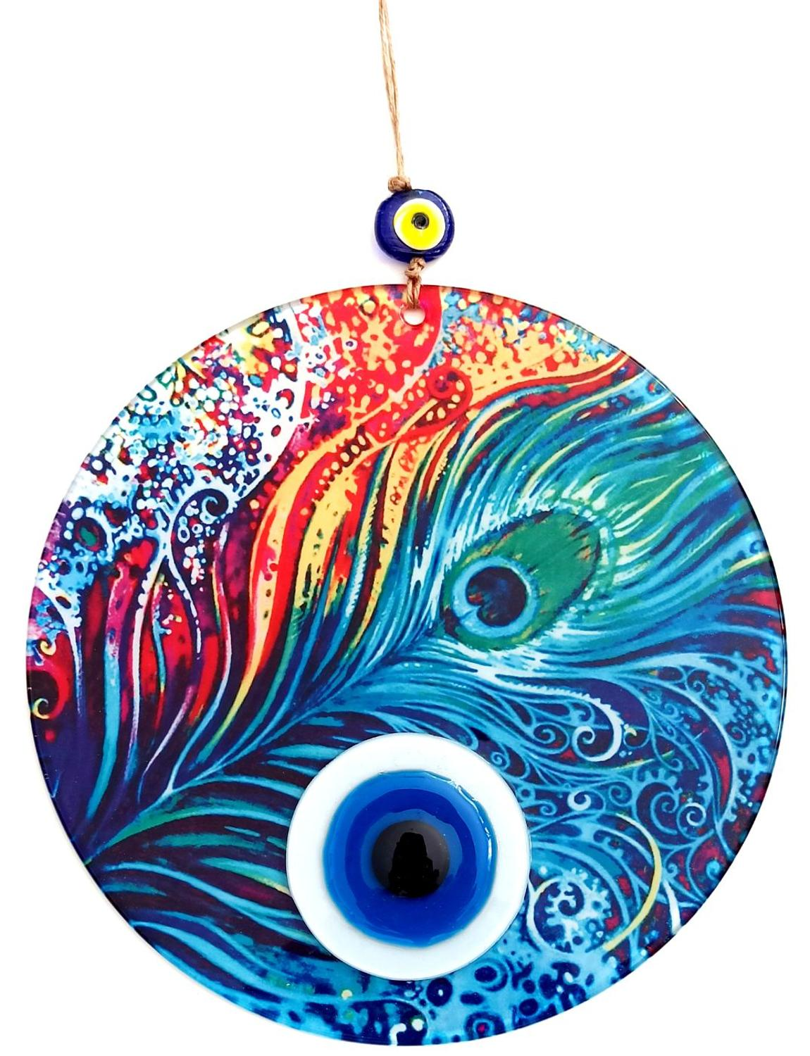 Feather Pattern, 23 Centimeter, Fusion Glass, Handmade Evil Eye Bead Wall Decoration