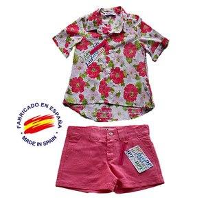 Комплект с рубашкой с цветочным принтом на пуговицах для девочек, льняные шорты с карманами Размеры: от 4 до 16 лет летняя одежда для девочек