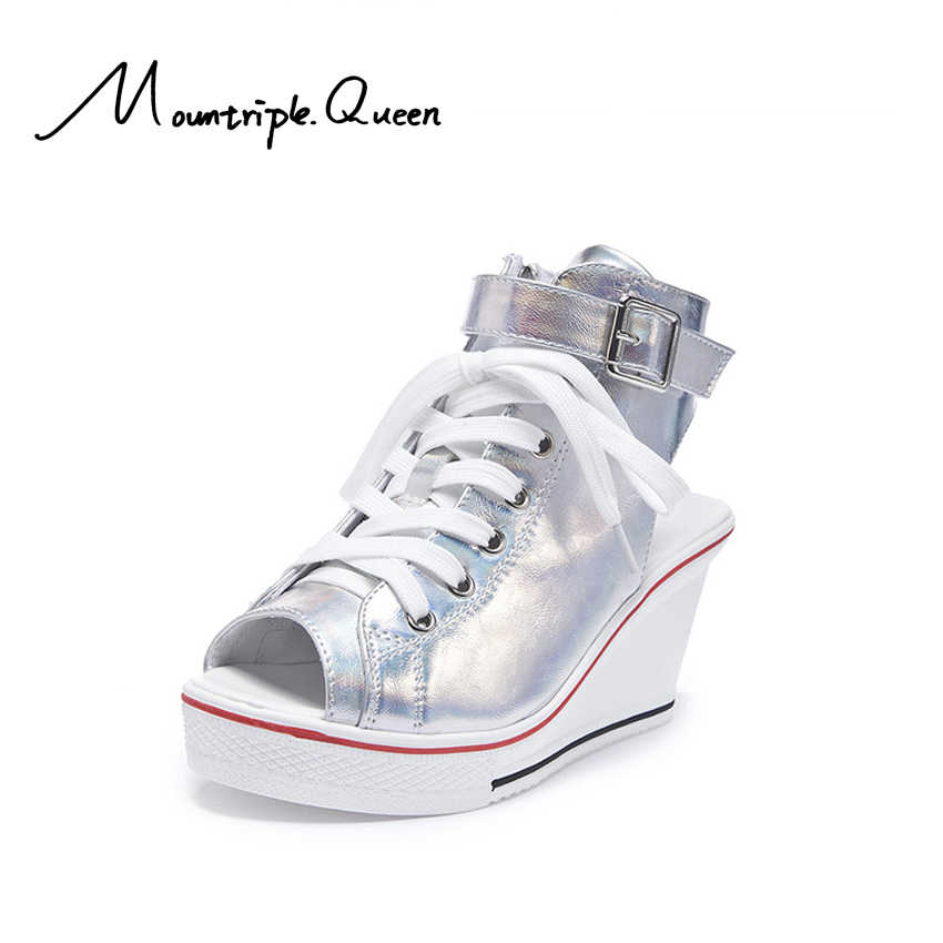 2019 Yeni Kore versiyonu Eğimli Topuk Fshmouth Sandalet 8cm Yüksek Rahat kanvas ayakkabılar Muffin Kek Topuk Bağlama kadın ayakkabısı
