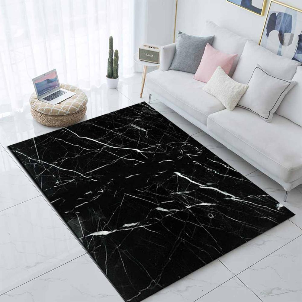 Else Black White Marble Design Nordec Scandinav 3d Print Non Slip Microfiber Living Room Decorative Modern Washable Area Rug Mat
