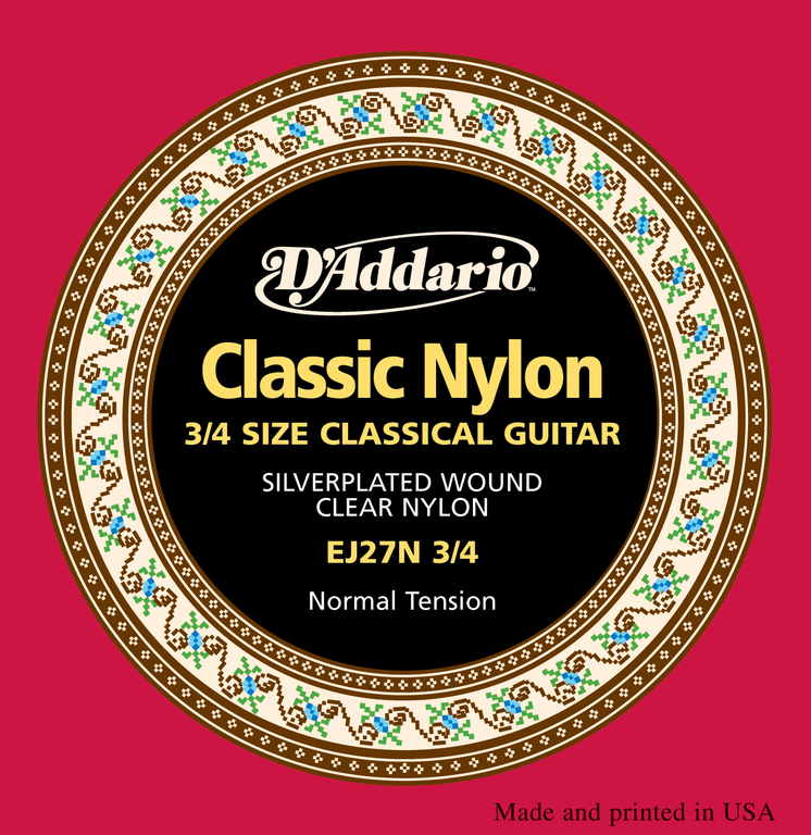 Ej27n-<font><b>3/4</b></font> string set for classical <font><b>guitar</b></font> size <font><b>3/4</b></font>, student, nylon, D'Addario image