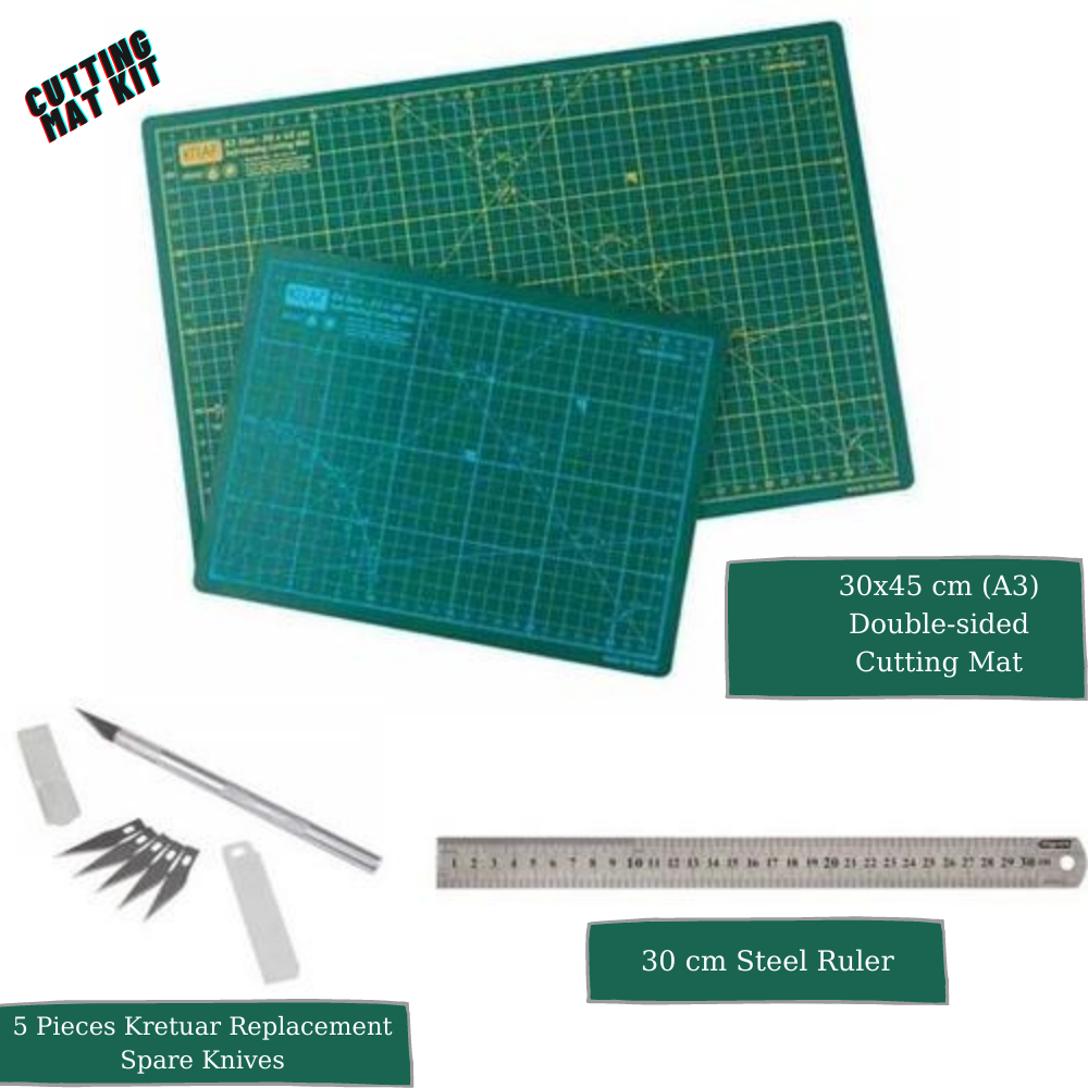 Cutting Mat Kit Set A3 Self Healing Double Side DIY Craft Set 1 Pcs Board 1 Steel Ruler 5 Kretuar Replacement Knives Grid Guide