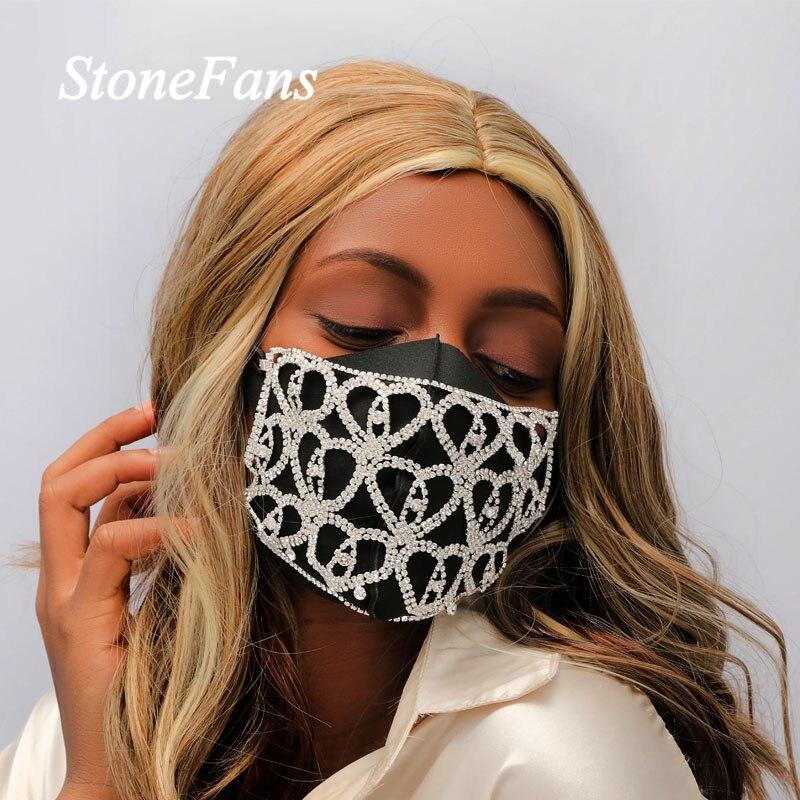 Jóias para as Mulheres Corrente do Corpo Stonefans Bling Strass Facemask Coração Moda Cristal Elástico Máscara Decoração Jóias