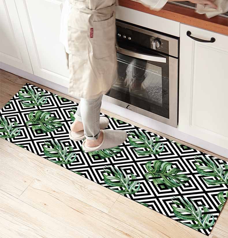Else Black Geometric Tiles Green Leaves 3d Print Non Slip Microfiber Kitchen Counter Modern Decorative Washable Area Rug Mat