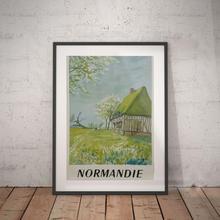 Normandie, normandie póster de viaje, decoración de pared, vintage, decoración del hogar, regalos