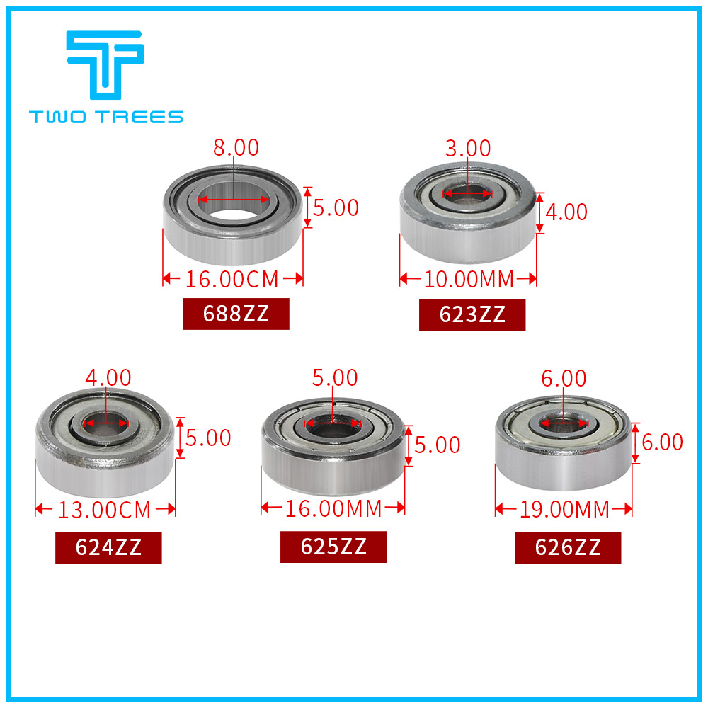 10PCS/lot Flange Ball Bearing 623zz 624zz <font><b>625zz</b></font> Deep Groove Flanged Pulley Wheel for 3D Printers Parts image