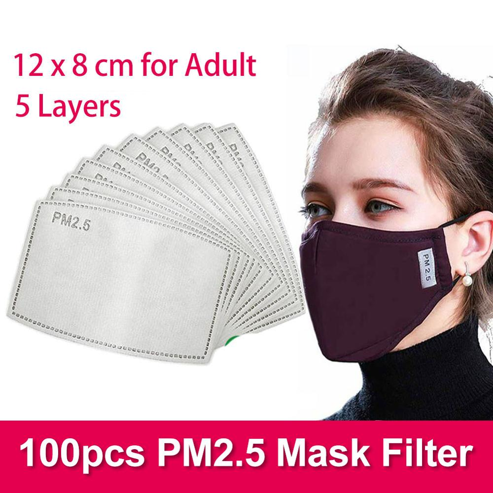 100pcs 5 Layers Pm25 Mask Filter 12x8cm Washable Cotton Face Mask With Filters For Germ Protection Adult Size