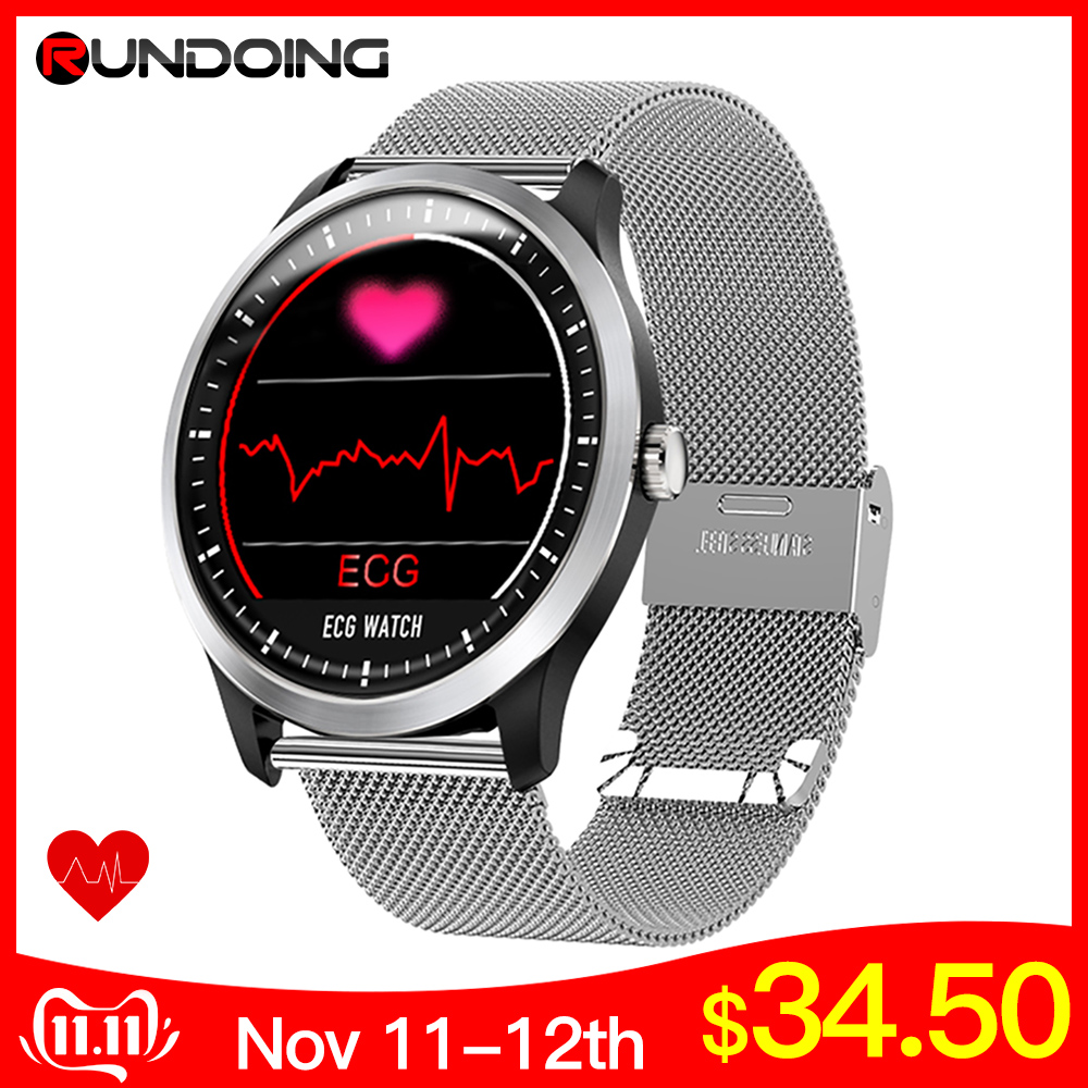 RUNDOING N58 ECG PPG smart watch with electrocardiograph ecg display,holter ecg heart rate monitor blood pressure smartwatch-in Smart Watches from Consumer Electronics