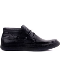 Sail Lakers Black Leather Lace Up Men Boots