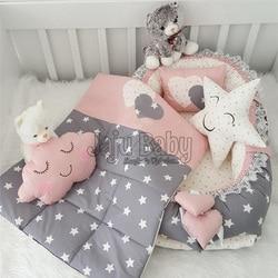 Jaju Baby Babynest Gray Star Luxury Orthopedic Baby Nest and Breastfeeding Pillow 5 Piece Bedding Set