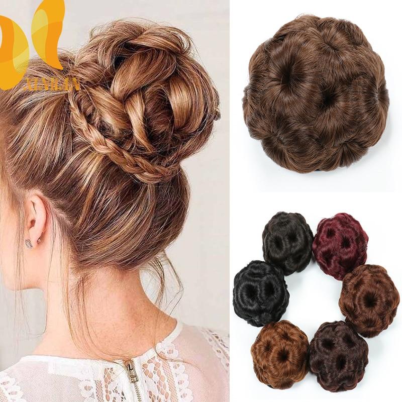 Xinran Synthetic High Temperature Fiber Chignon Nine Flowers Hair Women Curly Chignon Hair Bun Donut Clip In Hairpiece Synthetic Chignon Aliexpress