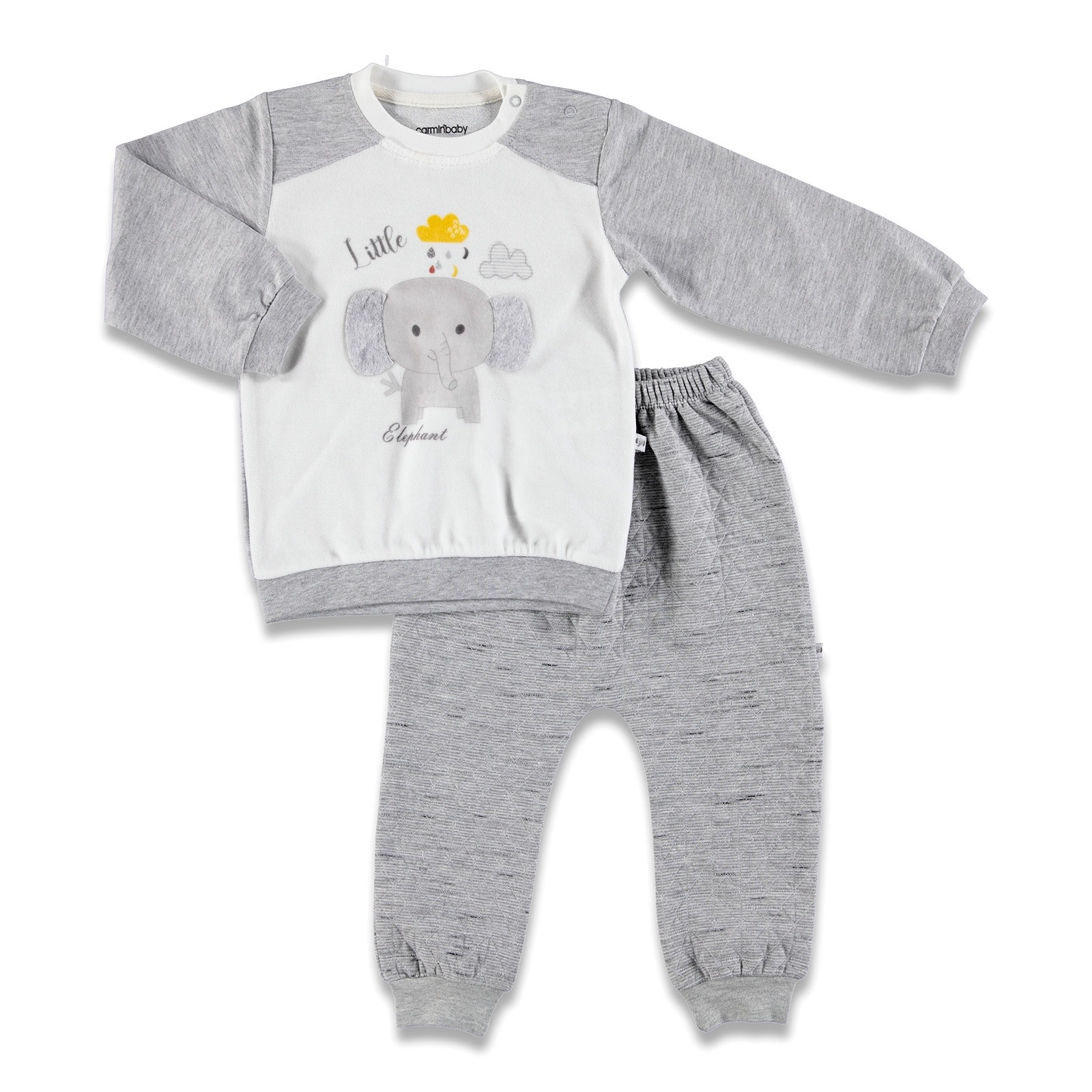 Ebebek Carmin Baby Fun Friends Quilted + Velvet Tracksuit Set