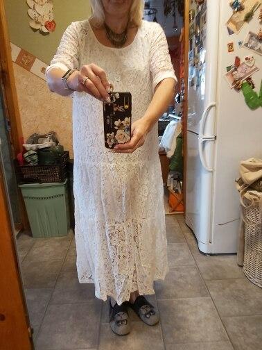 Women Lace Crochet Maxi Long Dress Summer O Neck 3/4 Sleeve Party Vestido Robe Femme Bohemian Sundress Casual Loose Dress photo review